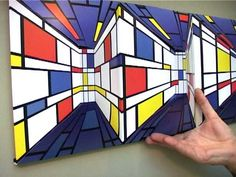 Piet Mondrian Style Optical Illusion (Perspective)