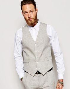 Cooperative Vintage Brown Tweed Vests Wool Herringbone British Style Custom Slim Fit Vest Durable Modeling Suits & Blazers