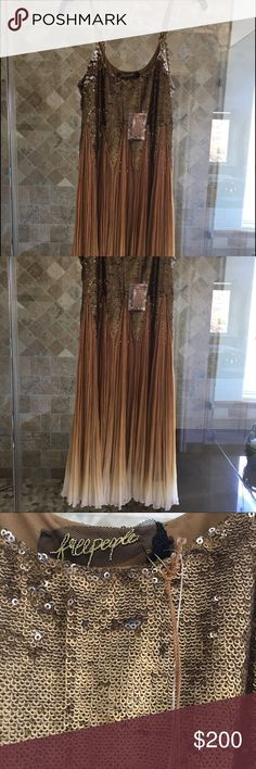 """Party dress MIDI dress with sparkly sequin bodice and silk ruffles. Taking $30 off because after inspection found 2 small rips, that I hadn't noticed before...I repeat, this hasn't been worn before. It runs small around the chest approx 34"""". Free People Dresses Midi"""