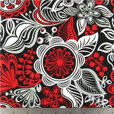 Fabric Cotton Red, White and Black Floral Cotton 100% Cotton Fabric for Quilting, Sewing, Home Decor and Crafts