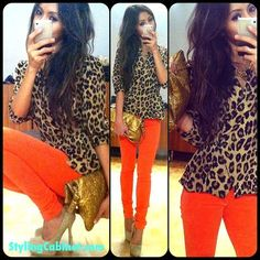 leopard + orange.... Wore this combo the other day (orange maxi skirt + leopard top)...I only wish I had MORE leopard tops... I would wear them with every color! ❤