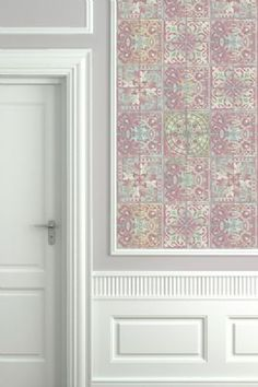 Louise Body Patchwork Dusky Pink Tile Wallpaper 3m Panel