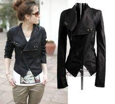 handmade women black Leather Jacket Coat style, women black Leather coat, Ladies leather jacket cross collar style