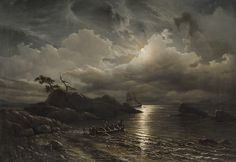 Knud Andreassen Baade (1808-1879), Rivage Norvégien au Clair de Lune - 1851