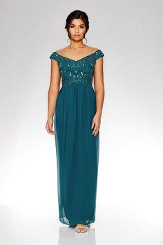 Vestido Largo Verde con Cuello Bardot y Adornos - Quiz Clothing