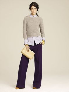 J.crew Fall 2011 Lookbook-- Purple Wide-leg Pants With Neutral Cropped Sweater
