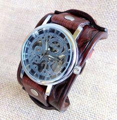 Men's leather watch, Skeleton wrist watch, Watches for men's, Men's gift, Cuff Watches, Steam punk watch