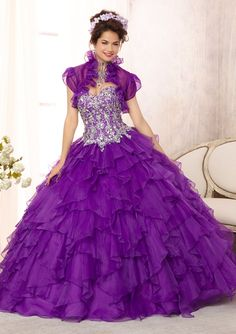 Quinceanera Gowns Style 88092: 88092 Embroidered and Beaded Bodice on a Ruffled Organza Skirt http://www.morilee.com/quinceanera/quinceanera_vizcaya/88092