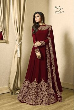 Drashti dhami brown designer anarkali suit online which is crafted from georgette fabric with exclusive zari embroidery. This stunning designer anarkali suit comes with santoon bottom, inner santoon and georgette dupatta. Indian Gowns Dresses, Pakistani Dresses, Eid Dresses, Dress Indian Style, Indian Outfits, Abaya Style, Indian Long Dress, Bridal Outfits, Bridal Dresses
