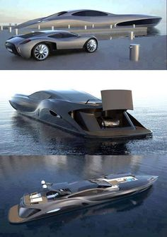 Gray luxury yacht with garage for car Bateau Yacht, Cool Boats, Small Boats, Yacht Boat, Yacht Design, Speed Boats, Power Boats, Water Crafts, Luxury Yachts