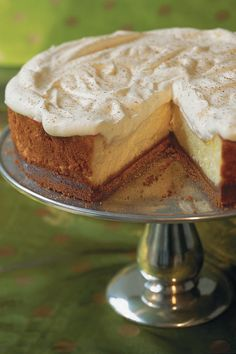 Eggnog Cheesecake with Gingersnap Crust - To-Die-For Cheesecake Recipes - Southernliving. Recipe: Eggnog Cheesecake with Gingersnap Crust  It only takes 15 minutes to put together this seasonal cheesecake with an easy three-ingredient gingersnap crust.