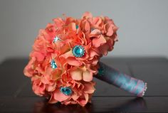 Coral and Teal Turquoise Hydrangea Brooch by LuckBridalDesigns
