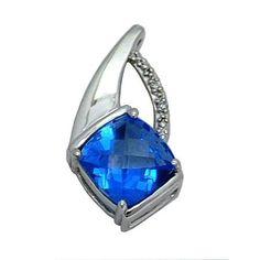Blue Topaz Pendant in 14 kw https://www.goldinart.com/shop/colored-gemstones-necklaces/blue-topaz-pendant-14-kw-2 #14KaratWhiteGold, #BlueTopaz