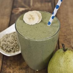 Ginger Pear Smoothie    Ingredients:  1 cup water  1 tablespoon ground flaxseed  1/2 tablespoon hemp seeds  2 tablespoon chopped fresh ginger  1/4 cup unsweetened almond milk  1/2 banana  1/2 pear  1 cup spinach  Directions:  Combine all ingredients in a blender and blend until smooth.    Nutrition score per serving: 256 calories, 12g protein