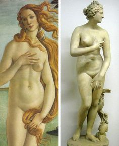 """The #aphrodite of Knidos was one of the most famous works of the ancient Greek #sculptor #Praxiteles of Athens (4th century BC). It and its copies are often referred to as the #Venus #pudica (""""modest Venus"""") type, on account of her covering her naked pubis with her right hand. Variants of the Venus Pudica (suggesting an action to cover the breasts) are the Venus de' Medici and the Capitoline Venus and Botticelli Venus #Painting - #art #artistic"""
