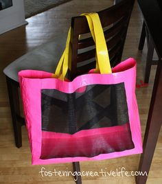 A No sew bag made of duct tape and window screening.