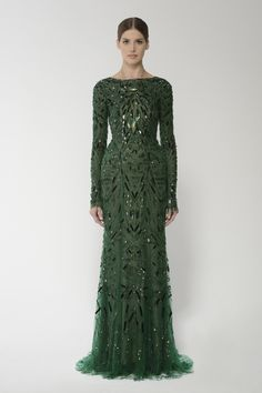 Monique Lhuillier / deco embroidered long sleeve gown with open back