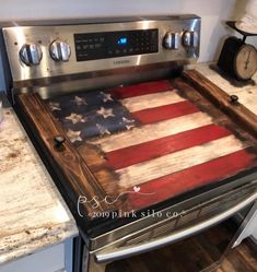 Rustic Americana Decor, Americana Kitchen, Rustic Decor, Country Decor, Wooden Stove Top Covers, Stove Board, America Sign, Noodle Board, American Flag Wood