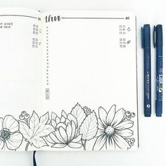 Bullet journal daily layout, water tracker, flower drawings, floral drawings. @bonjournal_