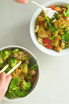 Simple Fried Rice 2 Ways. Simple dinner recipes your family will love! Which do you prefer, chicken or beef? Supper Recipes, Healthy Dinner Recipes, Dinner For One, Fall Dishes, Chicken Recipes, Rice Recipes, Kids Nutrition, Main Meals, Fried Rice