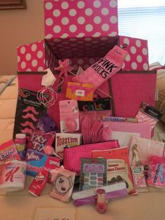 """The inspiration for this """"Tickled Pink"""" / """"Rocking the Pink Stuff"""" care package . The inspiration for this """"Tickled Pink"""" / """"Rocking the Pink Stuff"""" care package is pinned t Cute Birthday Gift, Birthday Gift Baskets, Birthday Gifts For Best Friend, Diy Birthday, Best Friend Gifts, Birthday Ideas, Bff Gifts, Pink Gifts, Cute Gifts"""