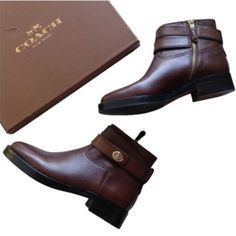 """NEW COACH authentic brown leather ankle boots 5.5 Leather  manmade sole  Shaft measures approximately 4.5"""" from arch  Color: Chestnut  Material: Leather Upper and Man-Made Outsole  Circumference measures 9"""" ; 1"""" heel  Boots are new in original box. (Box has some shelf damage.) Coach Shoes Ankle Boots & Booties"""