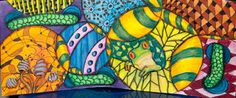 Mixed Media Zentangle/Doodles in Circles with a frog