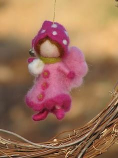 Needle felted Christmas fairy ornament Waldorf inspired pink
