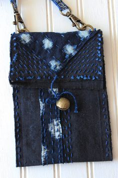 Small boro crossbody bag with sashiko stitching by IndigoMountains