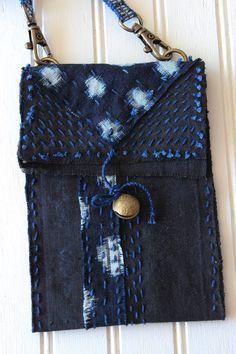 Small boro crossbody bag with sashiko stitching by IndigoMountains
