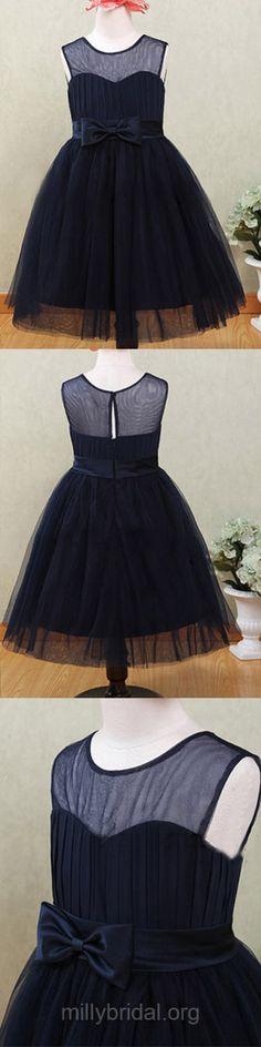 Dark Navy Flower Girl Dresses Ankle-length, Scoop Neck Flower Girl Dress Tulle, Cute Junior Bridesmaid Dresses For Cheap