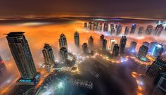 Another shot for the Dubai Marina Bay surrounded by the fog