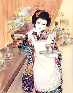The Gurafiku archive of Japanese graphic design is a collection of visual research surveying the history of graphic design in Japan. Japanese Art Modern, Japanese Artwork, Japanese Graphic Design, Japanese Prints, Japanese Culture, Geisha Kunst, Geisha Art, Japan Illustration, Kimono Japan
