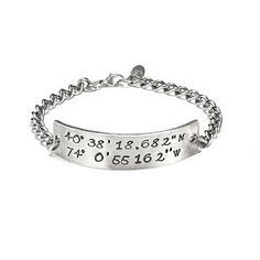 edf08c54a This hand-forged silver bracelet is custom stamped with the latitude and  longitude of your favorite place.