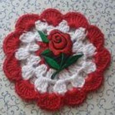 Untersetzer Rose in liebevoller Handarbeit gehäkelt Unikat
