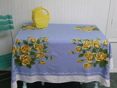 CUTTER 1950s Cotton Tablecloth, Lovely Blue with Yellow Roses - Vintage Travel Trailer or Home Decor