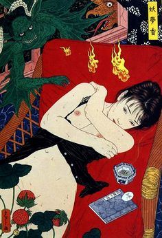 It's dark behind her smile…. Artwork by Takato Yamamoto. Japan Illustration, Yamamoto, Art Kawaii, Japanese Painting, Japan Art, Illustrations, Akita, Erotic Art, Art Inspo