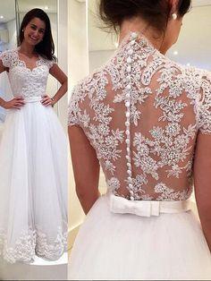 Elegant A-line White Lace Cap Sleeves Wedding Dress Bridal Gown