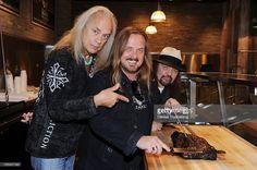 Members of the rock band Lynyrd Skynyrd Gary Rossington, Johnny Van Zant and Ricky Medlocke during the grand opening of Lynyrd Skynyrd BBQ & Beer at Excalibur Hotel & Casino December 8, 2011 in Las Vegas, Nevada.