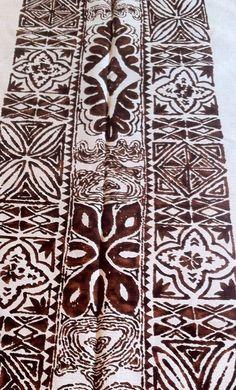 VINTAGE Hawaiian Textiles HTL Hawaii Polynesian Tropical Tapa Print Fabric 7.5 y