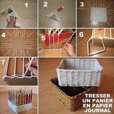 Woven paper craft is a nice way to recycle old newspaper and magazines. Let's make an easy DIY project to weave a nice storage box with tubes made from old newspaper, it looks great and neat for home. Diy Storage Boxes, Paper Storage, Craft Storage, Storage Ideas, Storage Baskets, Diy Simple, Paper Weaving, Newspaper Crafts, Newspaper Basket