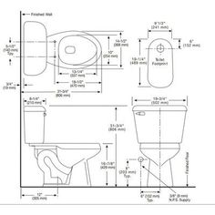 Mansfield Pro-Fit 1 Front Complete Round 2 Piece Toilet Finish: B Bathroom Floor Plans, Bathroom Plumbing, Wood Boat Plans, Boat Building Plans, Toilet Plan, Commercial Sink, Bathroom Dimensions, Clogged Toilet, Plumbing Installation