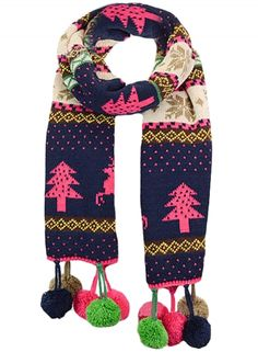 Women's Christmas Tree Elk Graphic Pompon Scarf OASAP.com