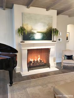 English Country Home: Nashville Parade of Homes - Southern Hospitality - love the shape of this fireplace