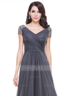 A-Line/Princess V-neck Asymmetrical Tulle Evening Dress With Ruffle Beading Sequins (017056519) - JJsHouse