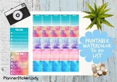 Printable Watercolor To Do List Erin Condren by PlannerStickerLady