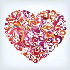 Free Vector Abstract colorful floral art shape made heart | Free ...