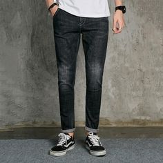 GAAJ 2017 New Men Jeans Top Quality Stretch Destroyed Fashion Slim Fit Denim Straight Slim Jeans For Men Black Grey Pants