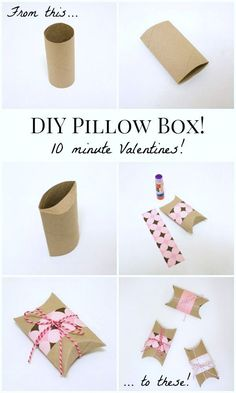 Diy Crafts Ideas : DIY Valentines Pillow Boxes: Turn an empty toilet paper tube into a Valentine pi