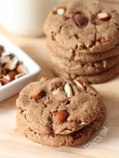 These soft and chewy maple almond butter cookies are naturally sweetened and made healthier with whole grains! With a dairy-free option.